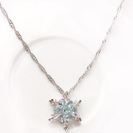 Wholesale Channel Flower - Fashion Jewelry Blue Crystal Snowflake Frozen Flower 925 Silver Necklace Pendant Chain Sweet Style Wild spring and summer style