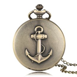 Wholesale Number Acrylic Watch - Bronze Big Anchor Design Quartz Pocket Watch Necklace Women Men Roman Number Sailor Fisherman Watches Fashion Bronze Clock