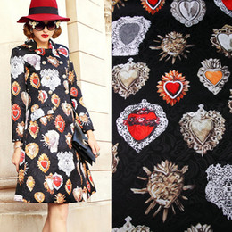 stone coats Promo Codes - Vintage Ruby Printed Black Polyester Jacquard Fabric Red Stone Tissus Women Dress Coat DIY Cloth Tissu Au Metre