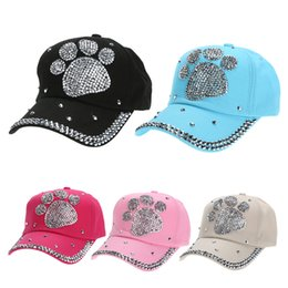 Wholesale Red Paw Print - 2018 Fashion Casual Casquette Children Baseball Cap Girls Boys Plum Blossom Paw Heart Print Caps Diamond Snapback Hats Gorras
