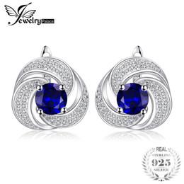 Pendientes de aro de zafiros online-JewelryPalace lujo 2.9ct creado pendientes de aro de zafiro 925 pendientes de plata para mujer joyería fina nuevo regaloY1882503