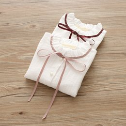 Wholesale Girls Chiffon Shirts - 2 color 2018 INS NEW ARRIVAL Girls Kids shirt long Sleeve stand collar bowknot white chiffon shirts girl casual spring shirt size 100-140