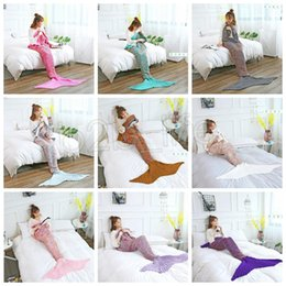 Wholesale quilt crochet - 180*90CM Fashion Adult Mermaid Tail Quilt Blanket Knitted Crochet Wrap Costumes For Sofa Couch Bed Car DDA617