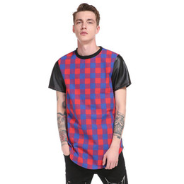 Camisas de homens mangas de couro on-line-Camisa dos homens T Hip Hop High Street Longo Xadrez Manga De Couro Scalloped Lado Zíper de Manga Curta T-shirt