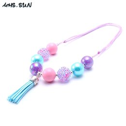 Wholesale Chunky Necklaces For Babies - MHS.SUN fashion baby girls chunky bubblegum beads necklace lovely princess blue tassel pendant necklace for kids gift BN062