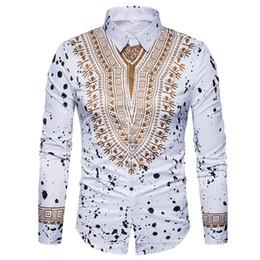 Vestidos de mangas tradicionales online-3D Imprimir Camisa de Los Hombres 2017 Tradicionales Africanos Dashiki Hombres Camisa de Manga Larga Slim Fit Casual Camisas de Vestir Camisas Masculinas