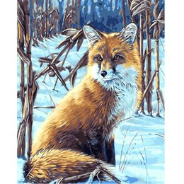 Wholesale Foxed Mirror - DIY oil painting calligraphy by numbers picture on canvas adult coloring paint acrylic painting by number fox snow craft E106