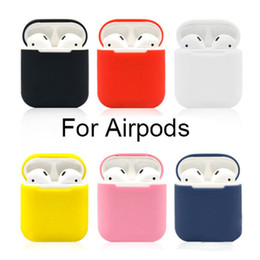 Wholesale silicone earphone case - Portable Silicone Skin Shockproof For Apple Airpods Skins Airpod Accessories Protective Cover Red Earphone Air Pods Case Replacement i7