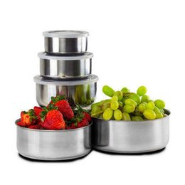 Wholesale Stainless Food Box - Stainless Steel Food Container Bowls 5pcs Sets Refrigerator Storage Bowl Dinner Bowl Lunch Box With Cover Kitchen Bowl OOA4271