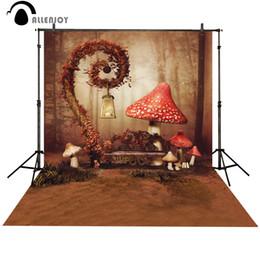 Fotografia di funghi online-Foto di sfondo Allenjoy Red Mushroom Fairy Wonderland Cute baby photo booth Sfondo per studio fotografico fotografia di sfondo