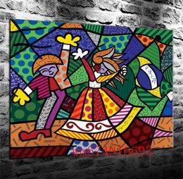 Argentina Colors of Brazil Romero Britto, Lienzo Home Decor HD Impreso Arte Moderno Pintura sobre Lienzo (Sin Marco / Enmarcado) Suministro