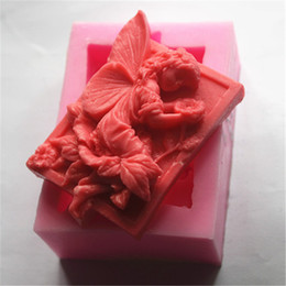 Wholesale Rubber Soap Molds - Wholesale- 2pcs Baking Molds 3D Flower Fairy Soap Mold 9*6*3cm