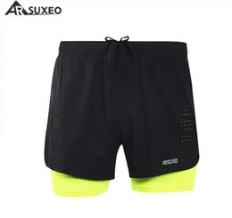 """Wholesale Outdoor Running Clothes - Wholesale-ARSUXEO Men's Summer Quick Dry Running Shorts Cycling 3"""" Running Shorts Outdoor Sportswear Fitness Clothing"""