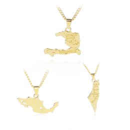 maps pendant Promo Codes - 2018 Country Map Pendant Necklace Israel Mexico Haiti Composition Necklaces & Pendants
