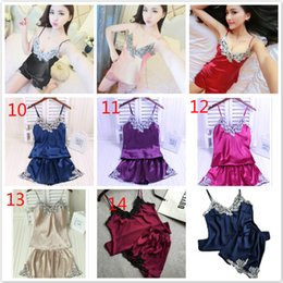 Wholesale suspender shorts women - Summer New Lace Embroidery Lace Nightie Large yard Tracksuit Women Sexy Deep V Halter Embroidered Silk Suspender Shorts Set