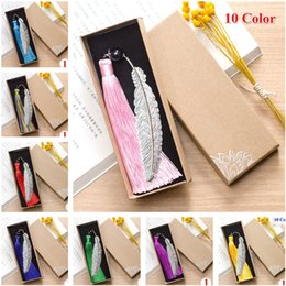 Wholesale Books Label - Fashion Classical Chinese Style Silver Metal Leaf Feather Tassel Bookmark Document Book Mark Label Christmas Gifts(No Box)
