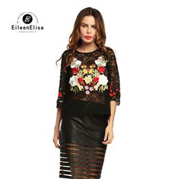 Wholesale Ladies See Through Blouses - Transparent Black Blouse Sexy 2017 Fashion Women Blouses Ladies Floral Embroidery Vintage See Through Top Shirt
