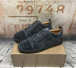 Wholesale Chocolate Footwear - Luxury Brand Red Bottom Sneakers Lows Black Silver Suede with Spikes Casual Shoes Velvet Patent Leather Nail Low Trainers Footwear Shoes