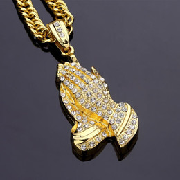 Wholesale Hand Charm Necklace - 2018 New Classic hip-hop star rap hands Pendant Necklace Gold silver plated Fashion Diamond hip hop Jewelry Fashion mens women 90cm chains