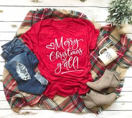 tee di modo delle donne di natale Sconti Buon Natale Y'all t-shirt regalo di festa delle donne di moda celebrare tumblr slogan estetico rosso piuttosto cotone camicia casual tees