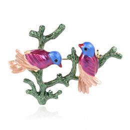 Spilla di uccelli di cristallo online-Spilla Valentine Day Crystal Couple Newborn Bird Bird Spilla Pin Costume For Her