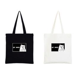 Sacs à bandoulière zippés en Ligne-YILE Zippered Cotton Canvas Eco Shopping Sac à bandoulière Imprimer White Cat Go Away D138