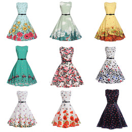 2019 swing bambini Big Girls Party Dresses Bambini senza maniche Vintage Print Swing Wedding Princess Dress Abito floreale con cintura 20 stili HH7-1058 sconti swing bambini