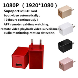 Wholesale Mini Camcorder Charger - WiFi EU US AC Adapter Plug mini Camera 1080P HD USB Phone Charger camera H.264 wall socket DVR home Security Camcorder