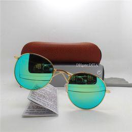 sunglasses white glass circle Australia - High Quality Glass Lens Brands Sunglasses Men Women Sunglasses Circle 51MM Trends Cat Eyewear Round Face Mirror UV400 Wholesale Box Case