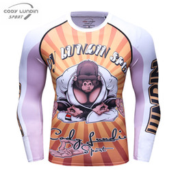 Wholesale Thermal Long Sleeve Shirts Men - Compression Shirt Layer Men's Basic Long Sleeve Panda 3D Thermal Print Under MMA Rashguard Tights Skin Man T Shirt CODY LUNDIN