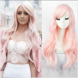 Wholesale Hot Pink Long Wigs - Women's New Hot Wavy Synthetic Wig Fashion Long Curly Light Pink Hair Full Wigs