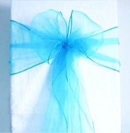 Wholesale Teal Bows - High Quality Teal Blue Organza Crystal Chair Sashes 50pcs lot Sample Fabric Roll wedding Sash Bow Gift Party SASH