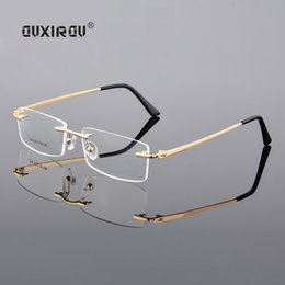 Luces de ajuste online-Diamond Trimmed Eyeglasses Hombres sin montura Gafas Marco Mujeres Calidad Optical Anti-blue light Goggles Myopia Glasses Frame s504