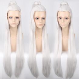 Parrucche cinesi di ponytail online-Cinese classico xianxia eroe Ponytail Cosplay parrucca resistente al calore DE089