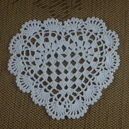 Wholesale Round Handmade Tablecloth - Wholesale- Handmade Crocheted Doilies 16-20cm 3 design heart Round Mat&Pad Wedding rose Ornament Vintage tablecloth Home decorate 15PCS LOT