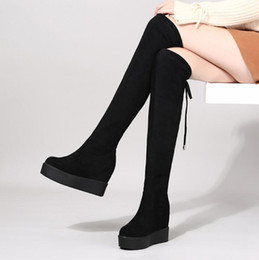 2019 botas de tejido elástico para mujer Botas negras sobre las rodillas para mujer Tacones de cuña Tejido elástico para mujer Muslo Alto Lace Up Mujer Botas largas Plataforma ADF-9958 botas de tejido elástico para mujer baratos