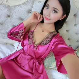 2016 New Arrival Sexy women s Nightwear Robe Set Nightgown + Bathrobes  two-piece Female Spring Silk Luxury V-neck Pajamas Hot 71c3252ad