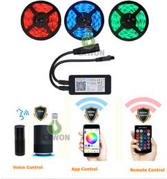 2019 12-вольтовый светодиодный комплект Светодиодные полосы света Alexa совместимый полный комплект 5 м 16.4 ft RGB Wifi смартфон беспроводной контроль 12 В 300LED 150 светодиодов 5050 полосы света скидка 12-вольтовый светодиодный комплект