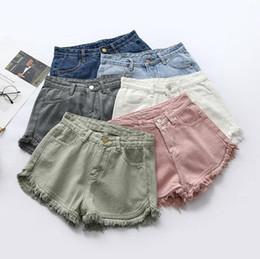 Wholesale Denim Shorts Pants Women - Denim Shorts Tassel High Waist Jeans Women Casual Knickers Pants Girls Skinny Retro Pants Slim Summer Candy Color Fashion Sexy Shorts B3608
