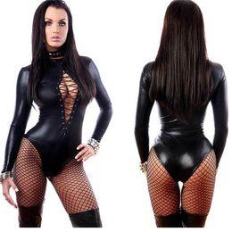 Wholesale Wet Look Zentai - Steampunk Catsuit Costume Black Gothic Women's Fetish Erotic Wet Look Faux Leather Leotard Romper Bodysuit Lingerie