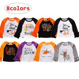 064e2baa3 INS Infant Halloween tops Baby Cartoon animal letter print Shirt Kids  Spring Autumn ruffle sleeve cloth 8colors 5size