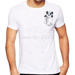 2019 bolso feito sob encomenda camisetas 2017 Engraçado Bolso Panda Impresso T Camisa dos homens Design Legal de Alta Qualidade Encabeça Personalizado Hipster Tees bolso feito sob encomenda camisetas barato