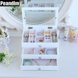 Wholesale Wooden Storage Drawers - PEANDIM Velvet 3 Drawers Wooden Cosmetic Makeup Jewelry Storage Box Organizer Bracelet Bangle Earrings Jewelry Box