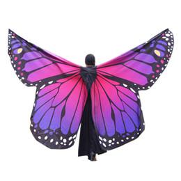 abito medievale donna viola Sconti Donne ragazze No Sticks Grandi scialle delle ali della farfalla Pashmina Fairy Lady Dance Show Cosplay Accessorio I28T