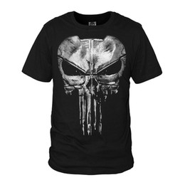 Wholesale punisher shirt xl - The Punisher Skull Ghost T-shirt Men Punisher Black Summer Short Sleeve T Shirts Tops Printing Casual Cotton Tees