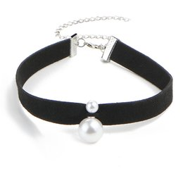 Wholesale Double Side Bib - New Fashion Leather Pendant Necklace Double Sided Pearl Necklaces For Women Trendy Bib Collar Choker Necklace HZ