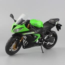 Wholesale Mini Moto Bikes - Scala 1:12 mini Kawasaki Ninja ZX-6R Sport bike Moto in metallo fuso sotto pressione sport road racing model car collection giocattolo per i