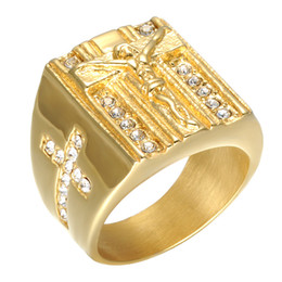 Wholesale Mens Indian Rings - Stylish Mens Stainless Steel 18K Gold Plated Cross Ring Christian Jesus Ring