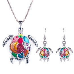 Wholesale turtles earrings - Enamel Turtle Necklace Earring Set Fine Sea Turtle Jewelry Sets For Girls Gift
