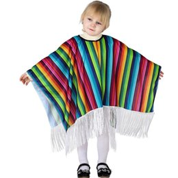 Wholesale clothing cartoon adult - Kids Adult Halloween Costume Cosplay Cape Baby 2018 Newest Designer Mexico Scarf children party clothes rainbow color